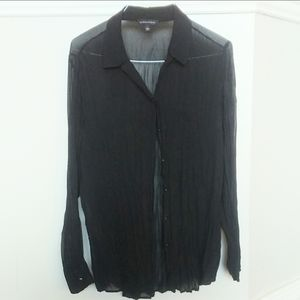 Rock and republic sheer crinkle button up blouse